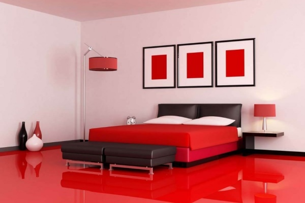 Farbe Rot in Schlafräumen