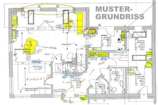 Muster-Grundrissplan mit (gelber) Einrichtung